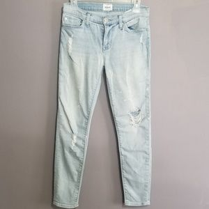 Hudon Distressed Skinny Crop Jeans